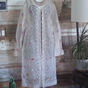 Lew Magram Silk Boho Mirror Sequin Kimono